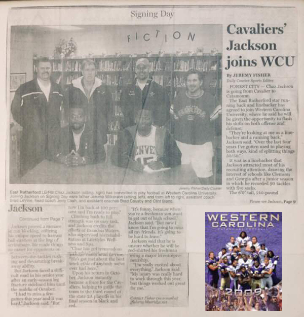 Chaz Jackson Family Motivational Youth Speaker WCU football signing day newspaper article clipping
